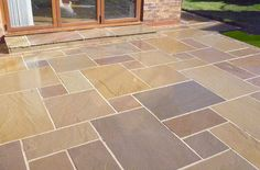Garden Paving Calibrated Indian Stone Paving Multi Buff (Sold Per Paving Stone Patio, Sandstone Paving, Patio Slabs, Paving Stones, Concrete Patio, Stone Patios, Concrete Flags, Limestone Patio, Granite Paving