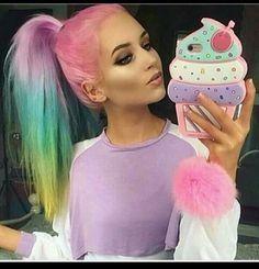 Imagem de hair, pink, and rainbow