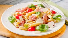 Penne Pasta Salad with Proscuitto, Parmesan, Tomato and Basil