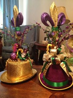 Mardi Gras Hat Tabletop Arrangement For ordering information email mailto:designsracquel@yahoo.com. Imitated but never duplicated!!!
