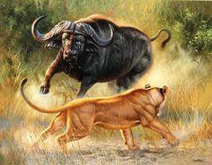 """Deadly Dance""24 x 30 oil -AFRICAN ORIGINALS"