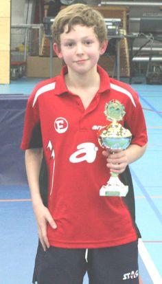 Elwin Huiden van de TTSD wint het A-toernooi van Weert bij de jongens pupillen, 2014