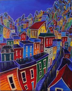 Newfoundland Art - Adam Young Love this artist! Newfoundland Canada, Newfoundland And Labrador, Canadian Painters, Canadian Artists, Adam Young, Young Art, Naive Art, Art Classroom, Types Of Art