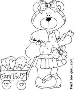 Free Printable Valentines Day sweet teddy bear coloring pages for kids