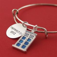 Doctor Who Impossible Girl Adjustable Bangle Bracelet - Spiffing Jewelry - Clara Oswin Oswald, Tardis