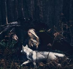 """""""This is one of my favorite pictures on this series. I love the motion conveyed, how she is in sync with her inner wolf. They're running side by side in the woods, the wolf just slightly ahead, the terrain familiar to it. The wolf's head. Story Inspiration, Character Inspiration, Nature Sauvage, The Ancient Magus Bride, She Wolf, Wolf Girl, High Fantasy, Fantasy Wolf, Dream Fantasy"""