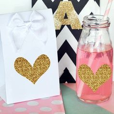 Gold Glitter Heart-Shaped Stickers (Set of 24)