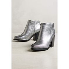 AoverA Brook Metallic Booties ($174) ❤ liked on Polyvore featuring shoes, boots, ankle booties, silver, shiny boots, genuine leather boots, metallic booties, leather boots and real leather boots