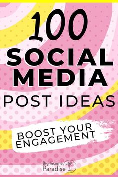 Are you struggling to create new posts on Social Media every day? Grab these 100 Social Media post ideas that will give you  massive engagement. Your audience will love these post ideas and they will engage with you. If you want to get more content ideas for social media, then this freebie is definitely for you. Get it here now and stop struggling with creating content. #BigIncomeParadise #socialmediapostideas #socialmediaposts #postideas #socialmediacontent #contentcreation Social Media Content, Social Media Marketing, Social Media Engagement, The 100