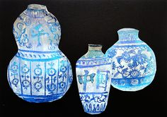 The Ming Vases. Materials: various shades of blue oil pastel, white acrylic paint or white gesso primer, tooth pick, examples of Ming porcelain.