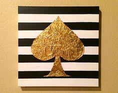 Peinture acrylique or feuille 10 x 10 de bêche sur toile
