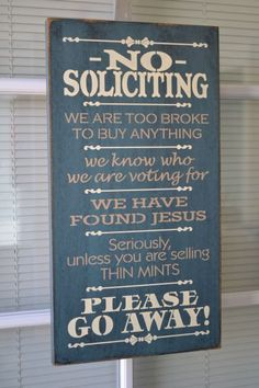 No Soliciting Sign, 9.5x18 Painted Stenciled Primitive Traditional Wood Sign CUSTOM COLORS