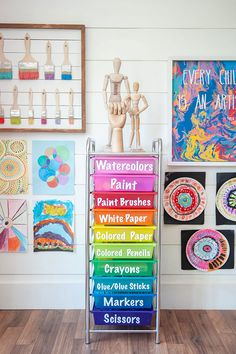Creative Art Room Supply Organization Today we're sharing an easy and creative art room organization idea! Use Darice's rainbow rolling cart to neatly organize must have supplies and materials. Kids Art Space, Kids Room Art, Art For Kids, Kids Art Area, Kid Art, Art Classroom Decor, Classroom Setup, Art Room Doors, Art Studio At Home