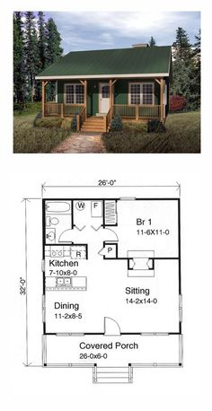 Tiny House Plan 49119 | Total Living Area: 676 sq. ft., 1 bedroom and 1 bathroom. #tinyhome