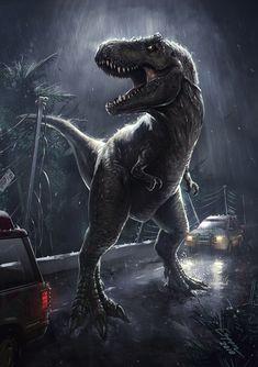 T-Rex Breakout by EspenG on DeviantArt T Rex Jurassic Park, Jurassic Park Poster, Jurassic Park Series, Jurassic Park World, Jurassic World Pictures, Michael Crichton, Dinosaur Images, Dinosaur Pictures, Jurrassic Park
