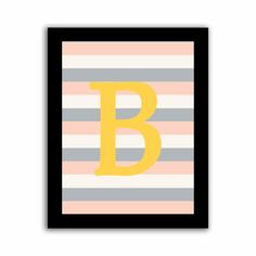 Personalized Initial  Gray White Pink Striped by mysweetmoonbeam, $18.00  #stripes #yellow #gold #pink #gray #white #kids #children #babies #nursery #alphabet #letters #personalized #wall #art #decor #customized