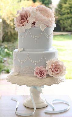 Wedding Cake Inspiration Light Blue Pink Flowers