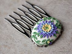 Lovely Polymer Clay Floral Applique Bridal Hair by charancreations