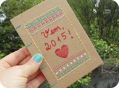 handmade book with embroidered cover by Gabriela - Vem, 2015!