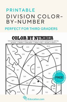 Challenge your third grader with some basic division problems and then use his answers to complete a color-by-number division masterpiece! Teaching Division, Math Division, Student Teaching, Math Pages, Free Teaching Resources, Teaching Tips, Color By Numbers, Math Books, Multiplication Facts