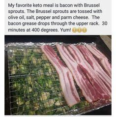 Bacon and Brussels Sprouts Keto, I'll do broccoli instead of brussel sprouts Ketogenic Recipes, Low Carb Recipes, Diet Recipes, Cooking Recipes, Healthy Recipes, Seafood Recipes, Chicken Recipes, Dessert Recipes, Eat Better