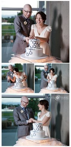 Cutting the chemistry inspired wedding cake at a wedding reception at the Denver…