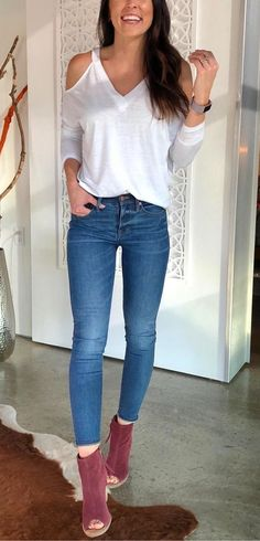 #winter #outfits white long sleeve top