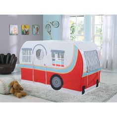 Get a happy little camper with this kid's bed!