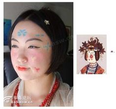 """Screen shot taken of Tang Makeup tutorial on youtube  (Pictured is Chen Yanhui, a 25-year-old Taiwan woman in process of making herself up in a style that was believed to be popular in the Tang Dynasty (618AD~907AD). Her """"retro-look"""" has been popular on the internet recently)"""