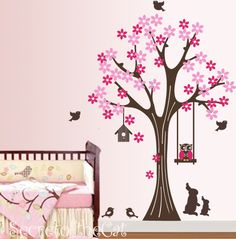 Owl decal Tree Decal - Kids Wall Decal Tree Wall Sticker - Tree with flowers and animals - Nursery Decal. $85.00, via Etsy.