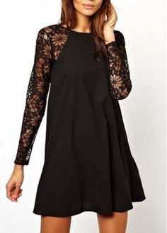 A Line Long Sleeve Black Lace Splicing Mini Dress