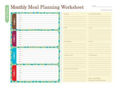 Free Household Notebook. Includes 36 Printables: Monthly Meal Plan Worksheet