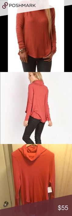 Free people thermal turtleneck New! Beautiful burnt orange! Lovely with jeans or leggings! Perfectly warm for winter. Price is firm unless bundled! Free People Sweaters Cowl & Turtlenecks