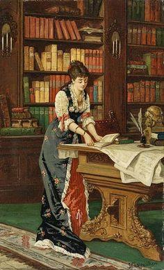 Mujer joven con un libro en una sala de la biblioteca. J. Charpentier (1779–1835)