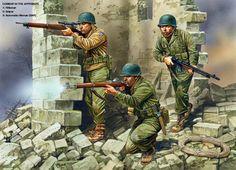 La 10th División de Montaña combatiendo en los Apeninos, cortesía de Peter Dennis.La mejor colección de láminas militares en http://www.elgrancapitan.org/foro/