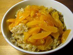 grød med rugflager, grød, rugflager, morgenmad, havregryn, abrikoser, appelsiner, rørsukker