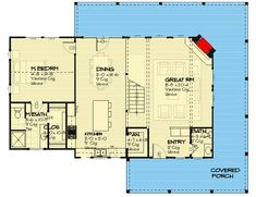 Three or Four Bed Home Plan with Views from Three Sides - floor plan - Main Level Two Story House Plans, Best House Plans, Tiny House Plans, House Floor Plans, Basement House Plans, Basement Ideas, Architectural Design House Plans, Old Cottage, Indoor Outdoor Living