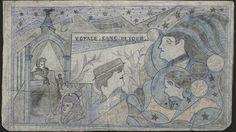 VOYAGE SANS RETOUR (VOYAGE WITH NO RETURN) / Paul End (Paul Engrand) (1896–1973, France), 1948, Saint-André-lès-Lille Psychiatric Hospital, France, colored pencil and pencil on packing paper coated with oil paint, 17 1/8 x 29 1/2 in., Collection de l'Art Brut, Lausanne, Switzerland, cab-218. Photo credits: © Collection de l'Art Brut, Lausanne. Photo by Caroline Smyrliadis, Atelier de numérisation—Ville de Lausanne