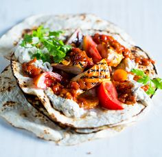Ginger and Peppadew chicken wraps with baba ganoush