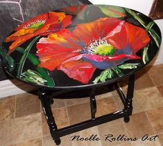 I so loved this small drop leaf table I painted a couple years ago. It matched nothing in my house, but… Whimsical Painted Furniture, Chalk Paint Furniture, Hand Painted Furniture, Funky Furniture, Recycled Furniture, Furniture Projects, Furniture Makeover, Painted Stools, Drop Leaf Table