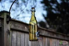 Yellow and Silver Wine Bottle Bird Feeder Gift for Mom Outdoor Gift for Mom Patio Handmade Wine Bottle Decor Gifts for Women -- Find out more by clicking the image Glass Hummingbird Feeders, Humming Bird Feeders, Wine Bottle Lanterns, Wine Bottles, Unique Bird Feeders, Tea Candle Holders, Decorative Bird Houses, Outdoor Garden Decor, Garden Decorations