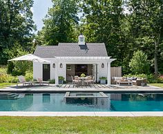 Cute Pool House for Summer Entertaining! - Town & Country Living Pool House Designs, Backyard Pool Designs, Swimming Pools Backyard, Swimming Pool Designs, Backyard Pool Landscaping, Small Pool Houses, Houses With Pools, Country Pool, Pool House Plans