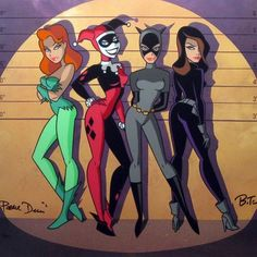 Poison Ivy, Harley Quinn, Catwoman, & Talia al Ghul by Bruce Timm!