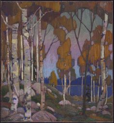 """Influence of Thomson's commercial work is evident here: a grouping of trees in the foreground frames a view across the lake—a layout he had used earlier in his design work. Tom Thomson, """"Decorative Landscape: Birches,"""" National Gallery of Canada. Emily Carr, Group Of Seven Paintings, Paintings I Love, Acrylic Paintings, Canadian Painters, Canadian Artists, Abstract Landscape, Landscape Paintings, Abstract Trees"""