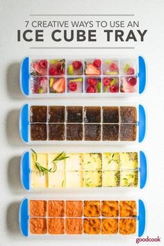 From no-bake treats to herbed butter cubes, these clever ice cube tray ideas will change the way you see this kitchen staple. Flavored Ice Cubes, Fruit Ice Cubes, Flavored Butter, Ice Cube Recipe, Frozen Ice Cube, Herb Butter, Fun Cooking, Cooking Tips, Cooking Recipes