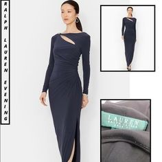 """Ralph Lauren Cut out Stretch Knit Long Dress-sz 14 Ralph Lauren stands for American Tradition- since 1967. Timeless design and modern romantic luxury fabrics make up its fulll line of quality apparel and accessories!  •Size: 14, USA SIZING (approx USA average size charts located via top of my closet..) Color: DECO Steel, New with tags, Lauren Ralph Lauren Evening- Sheath, Long Sleeve, Pullover, Total Length: 62"""" Bust 17 1/2 """", Waist 14 1/2"""", Hips 15 1/2"""", Material: 95% Polyester/5%…"""