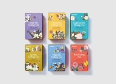 Illustrated packaging with gold foil print finish developed by Victor Design for tea brand Daebeté's new floral Scented Tea range Flower Packaging, Food Packaging Design, Beverage Packaging, Coffee Packaging, Packaging Design Inspiration, Tea Design, Coffee Design, Victor Design, Tea Brands