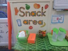 Snack area at nursery room ideas preschool snacks clroom. Class Snacks, Classroom Snacks, Eyfs Classroom, Preschool Snacks, Classroom Displays, Classroom Themes, Eyfs Activities, Nursery Activities, Classroom Organisation