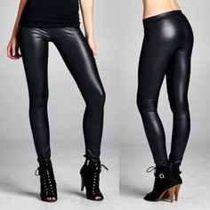 """Oil Slick"" Black Shiny Leggings Black shiny leggings with an elastic waist. True to size. NO TRADES. Brand new. Bare Anthology Pants Leggings"
