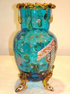OLD HARRACH DIMPLED BLUE GLASS VASE WITH APPLIED COLOURED GLASS, FANCY ENAMELED WORK AND VERY UNUSUAL LIZARD LEGS  Circa 1890 - www.madforglass.com Art Nouveau, Blue Glass Vase, Coloured Glass, Swarovski, Antique Glass, Glass Collection, Fancy, Hand Painted, Antiques